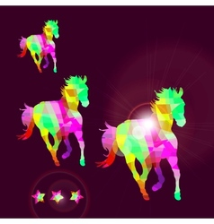Abstract horse of geometric shapes with stars vector