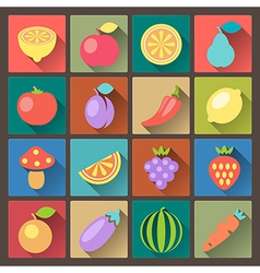 Vegetables icons in flat design style vector