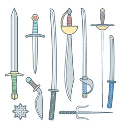 Cold weapons colored outline set vector