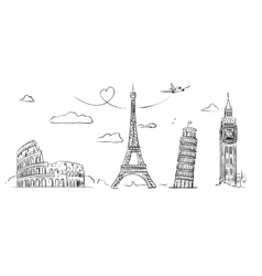 Hand drawn sights of europe vector
