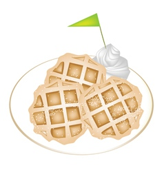 Three baked waffles with icing and whipped cream vector
