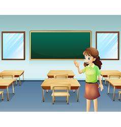 A teacher inside the empty classroom vector