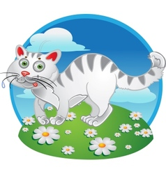 White fun cat on color background vector