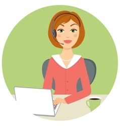 Beautiful call center woman vector