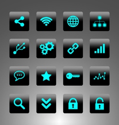 Set of cyan icons - technology web and business vector