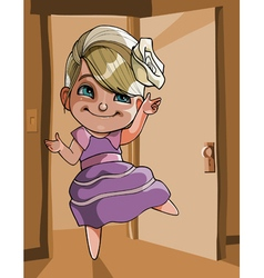 Cartoon cheerful girl dancing vector