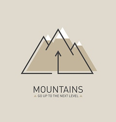 Mountains logo in line style mono line logotype vector
