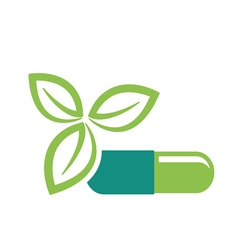 Green leaves and pill vector