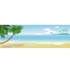 Panoramic tropical beach with palm vector