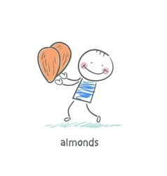 Almonds and people vector