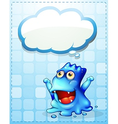 A happy blue monster with an empty cloud callout vector