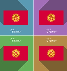 Flags kyrgyzstan set of colors flat design and vector