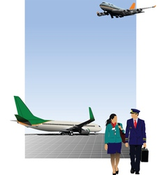 Pilot and stewardess vector