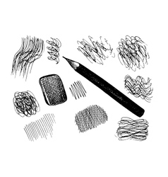 Pencil and scribbles sketch collection vector