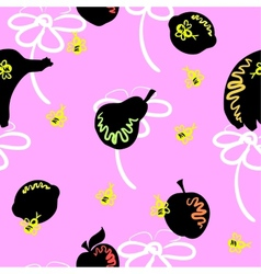 Pink fruit pattern vector