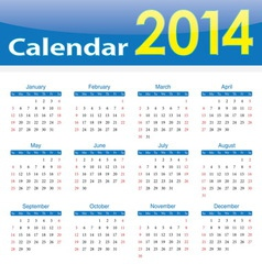 Calendar 2014 popular template on isolated backgro vector