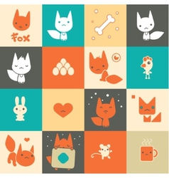 Set of colorful fox icons vector