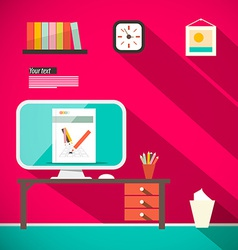 Studying room - office with computer and table vector
