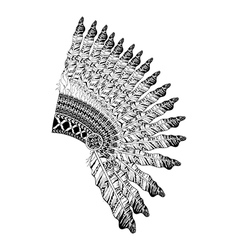 Feathered war bannet in zentangle style headdress vector