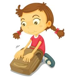 Girl packing school bag vector