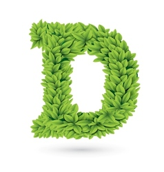 Letter of green leaves with shadow vector