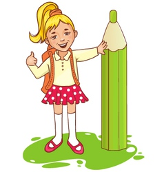 Cartoon schoolgirl near big pencil esp10 vector