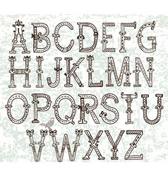 Hand drawn vintage alphabet vector