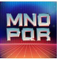 80s retro futuristic font from m to r vector