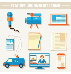Flat set of equipment for journalism background vector