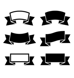 Black ribbons icons set vector