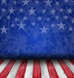 Empty wooden deck table over usa flag background vector