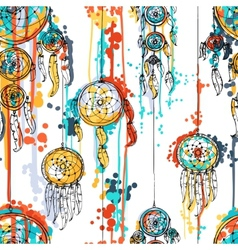 Seamless with dream catchers vector