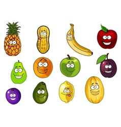 Colorful fruits and vegetables cartoon characters vector