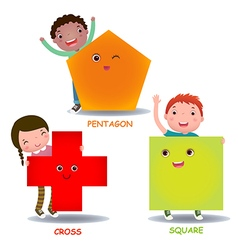 Cute little cartoon kids with basic shapes square vector