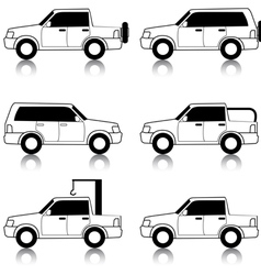 Set of icons - transportation symbols black on whi vector