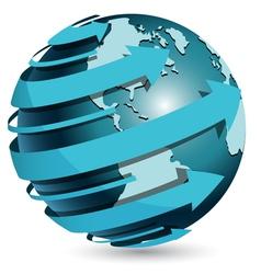 Globe with blue arrow vector