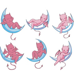 Little sleeping devils on moon vector