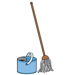 Bucket and cleaning mop vector