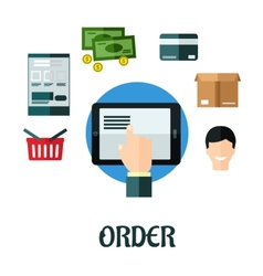 Order and shop online flat concept vector