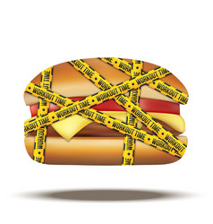 Fast food burger with workout time tapes vector