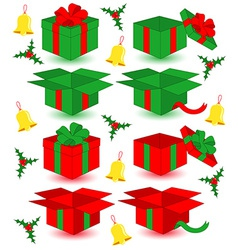 Closed and opened christmas gifts vector