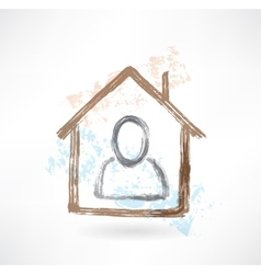 Person in a house grunge icon vector