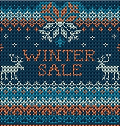 Winter sale scandinavian style seamless knitted vector