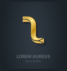 Gold letter z elegant font template for golden vector