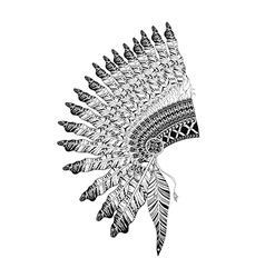 Feathered war bannet in zentangle style high vector