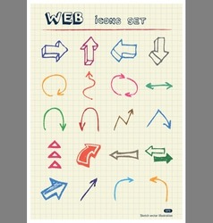 Arrows web icons set drawn by color pencils vector