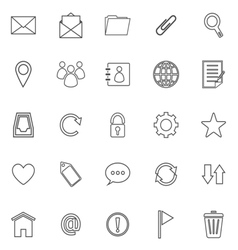 Mail line icons on white background vector