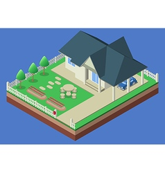 Isometric house and garden yard vector