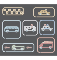 Neon transportation symbols vector