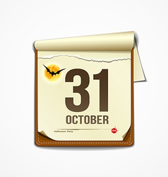 Paper october calender in halloween party vector